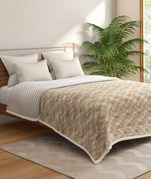 Brown Textured Double Size Reversible Dohar(100% Cotton, Double Size) - Portico New York Hashtag Collection