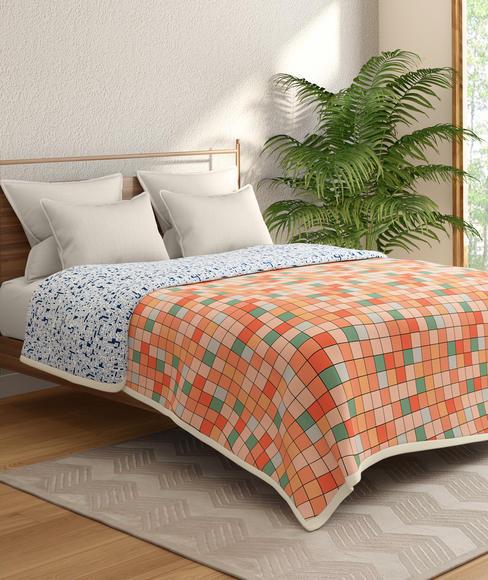 Multicoloured Checked Print Double Size Dohar (100% Cotton, Reversible) - Portico New York Hashtag Collection