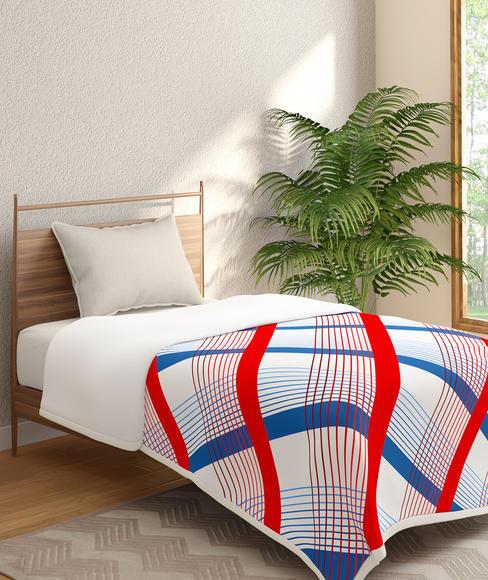 Diagonal Checkered Print Single Size Reversible Dohar(100% Cotton, Reversible) - Portico New York Radiance Collection