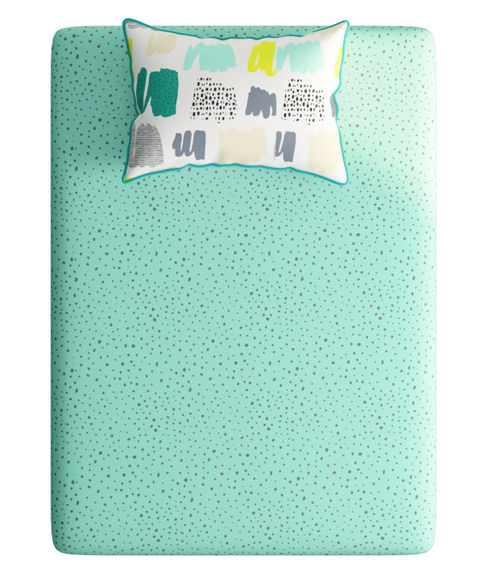 Multicolour Doodle Print Bedsheet With 1 Reversible Pillow Cover (100% Cotton, Single Size) - Portico New York Hashtag Collection