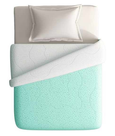 Blue Abstract & Fun Print Single Size Comforter (100% Cotton, Reversible) - Portico New York Hashtag Collection