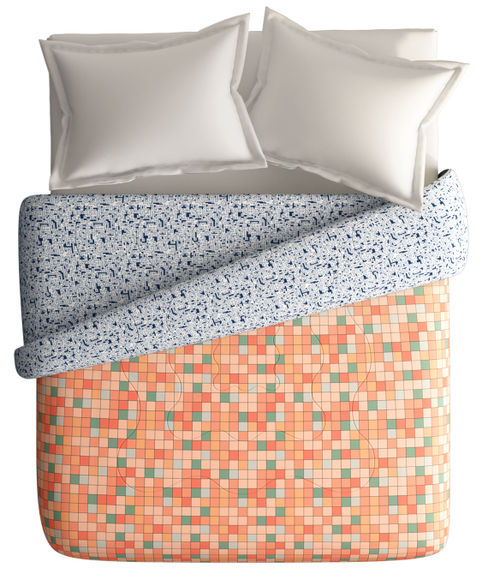 Multi-Coloured Checkered Print King Size Comforter (100% Cotton, Reversible) - Portico New York Hashtag Collection