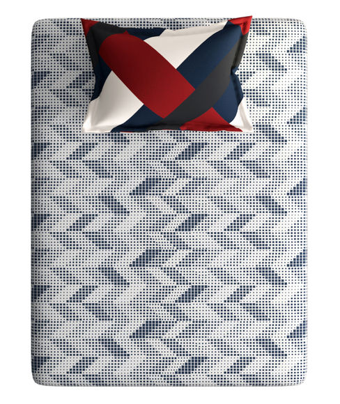 Deep Blue & Red Small Geometric Print Single Size Bedsheet With 1 Pillow Cover (100% Cotton) - Portico New York Vienna Collection