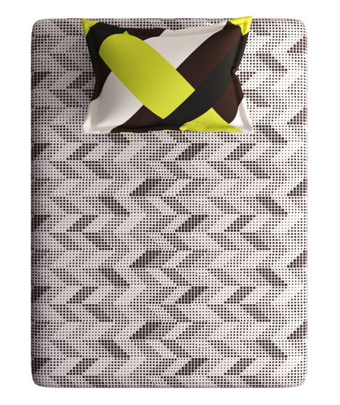 Brown & Yellow Small Geometric Print Single Size Bedsheet With 1 Pillow Cover (100% Cotton) - Portico New York Vienna Collection