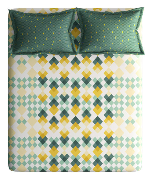 Sage Green & Mustard Geometric Print Double Size Bedsheet With 2 Pillow Covers (100% Cotton) - Portico New York Vienna Collection