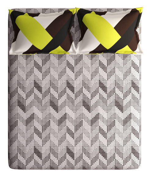 Brown & Yellow Small Geometric Print Double Size Bedsheet With 2 Pillow Covers (100% Cotton) - Portico New York Vienna Collection