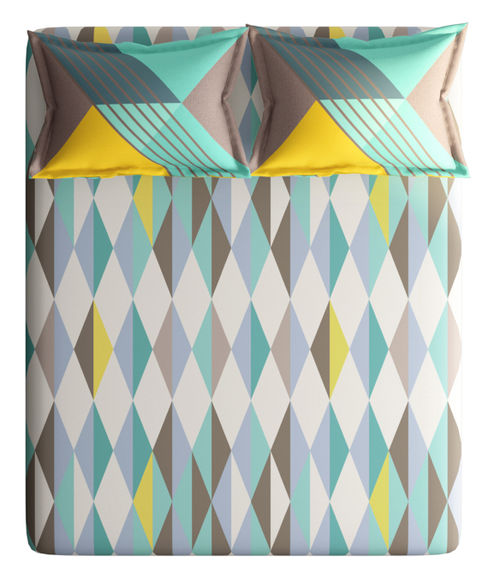 Grey & Teal Diamond Print Double Size Bedsheet With 2 Pillow Covers (100% Cotton) - Portico New York Vienna Collection