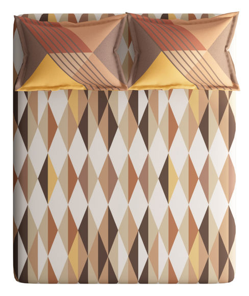 Brown & Beige Diamond Print Double Size Bedsheet With 2 Pillow Covers (100% Cotton) - Portico New York Vienna Collection
