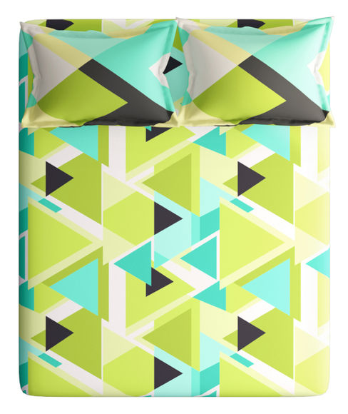 Lime Green & Teal Triangles Print King Size Bedsheet With 2 Pillow Covers (100% Cotton) - Portico New York Vienna Collection