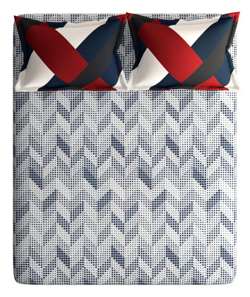 Deep Blue & Red Small Geometric Print King Size Bedsheet With 2 Pillow Covers (100% Cotton) - Portico New York Vienna Collection