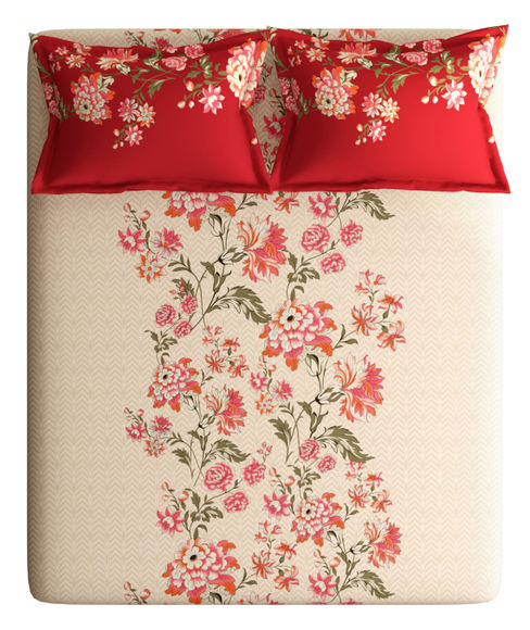 Red & Beige Floral Print King Size Bedsheet With 2 Pillow Covers (100% Cotton) - Portico New York Vienna Collection