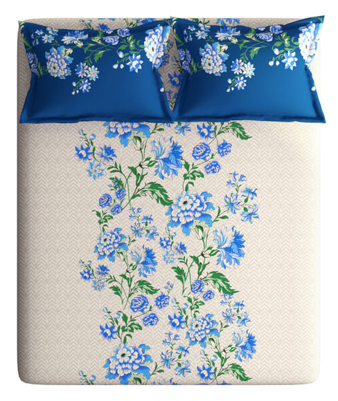 Blue & Grey Floral Print King Size Bedsheet With 2 Pillow Covers (100% Cotton) - Portico New York Vienna Collection