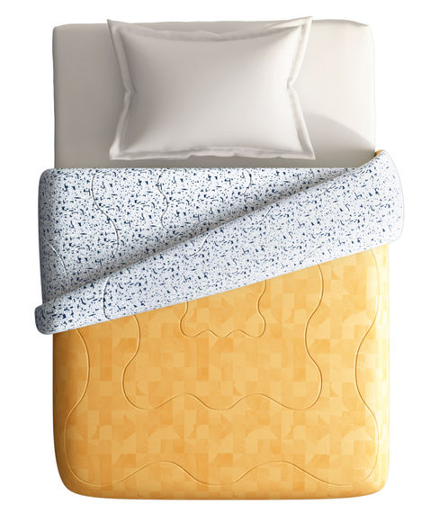 Shades Of Yellow Checkered Print Single Size Comforter (100% Cotton, Reversible) - Portico New York Hashtag Collection