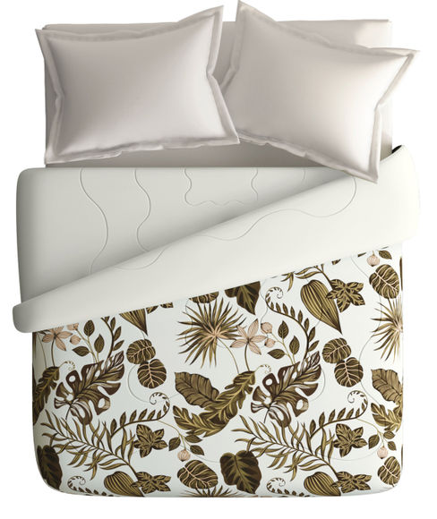Tropical Brown Nature Print King Size Comforter (100% Cotton, Reversible White Back) - Portico New York House Of Misu Havana Collection