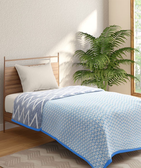 Blue & White Ikat Print Single Size Dohar (100% Cotton, Reversible) - Portico New York Mix Don't Match Collection