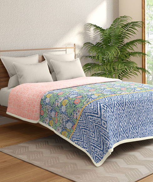 Blue Themes Leaf And Floral Print Double Size Dohar (100% Cotton, Reversible) - Portico New York Shalimaar Collection