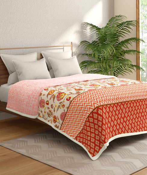 Floral And Ikat Print Double Size Dohar (100% Cotton, Reversible) - Portico New York Shalimaar Collection