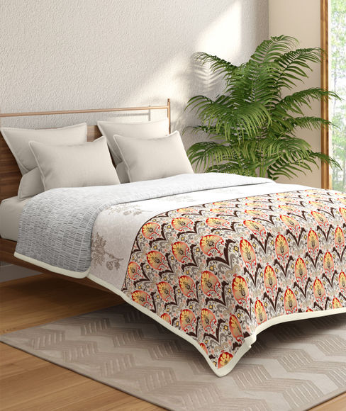 Traditional Indian Print Double Size Dohar (100% Cotton, Reversible) - Portico New York Shalimaar Collection