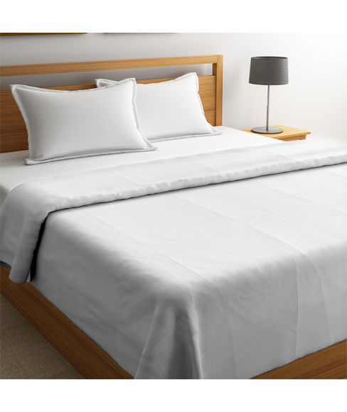 Plain White Double Size Comforter (100% Cotton, Reversible) - Portico New York Forever White Collection