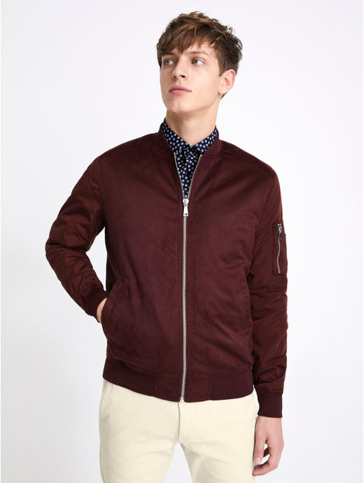 Maroon Solid Straight Fit Bomber Jacket