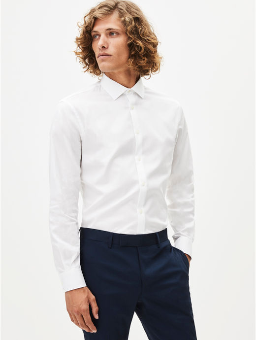White Solid Formal Shirt