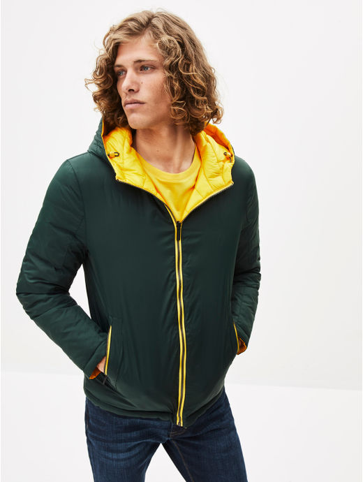 Green and Yellow Reversible Bomber Jacket