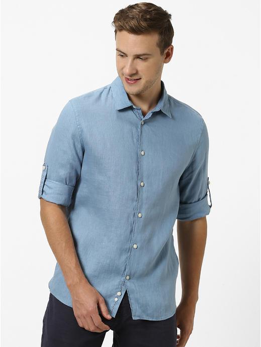 100% Linen Blue Shirt