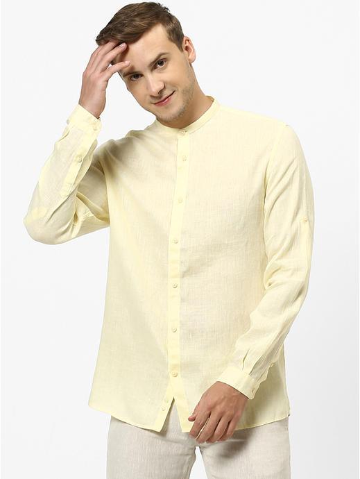 100% Linen Mao Collar Yellow Shirt