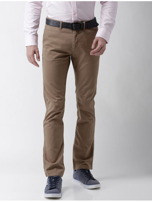 Light Solid Brown Slim Fit Chinos