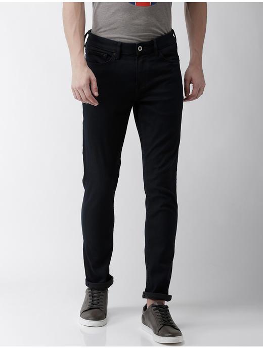 Powerflex Navy Solid Slim Fit Jeans