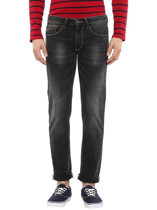Cotton Blend Straight Fit Black Jeans