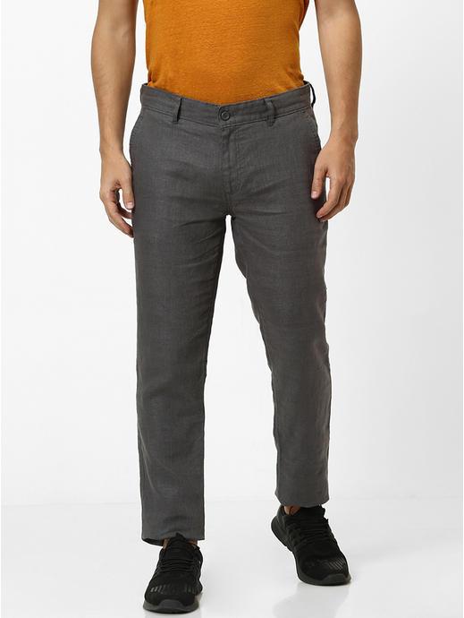 100% Linen Slim Fit Grey Pants
