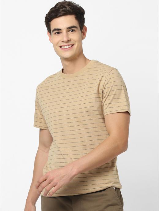 100% Cotton Beige Striped T-Shirt