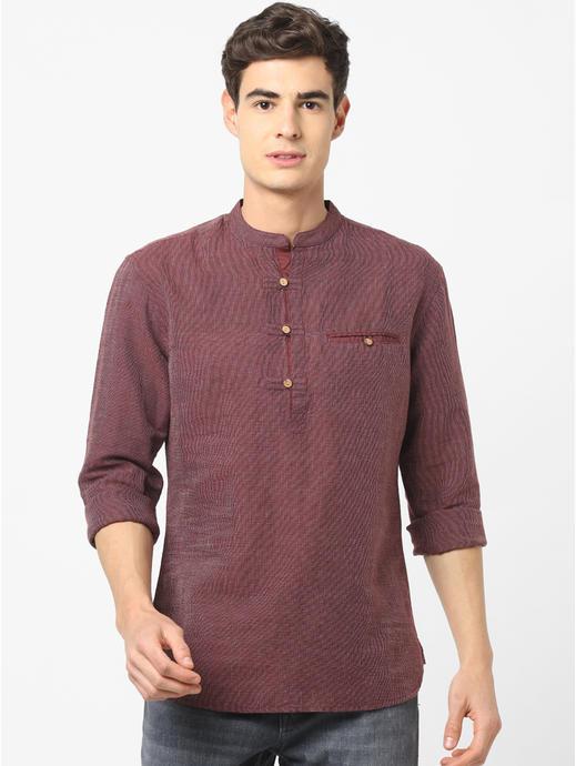 Linen Regular Fit Navy Shirt