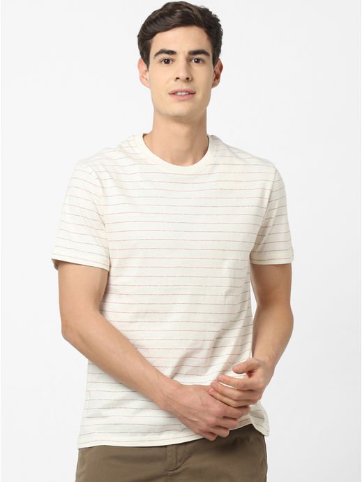 100% Cotton Off White Striped T-Shirt