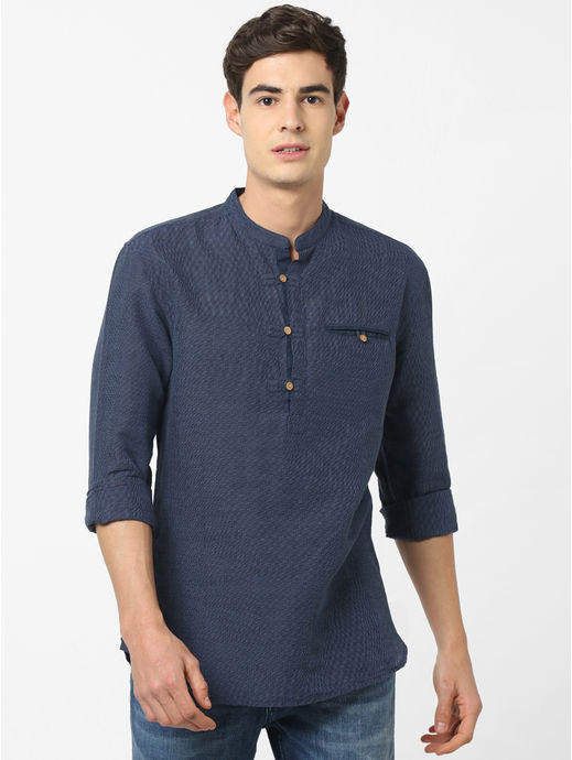 Linen Regular Fit Navy Shirt