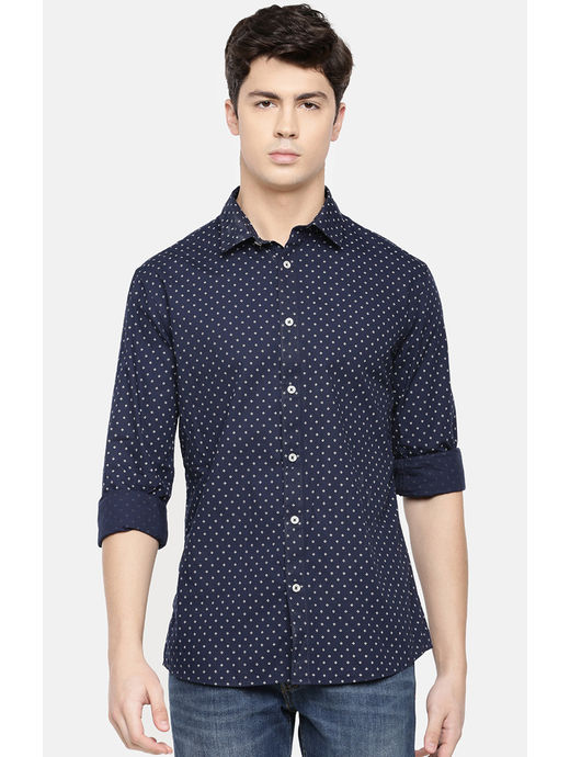 Navy Printed Slim Fit Casual Shirt