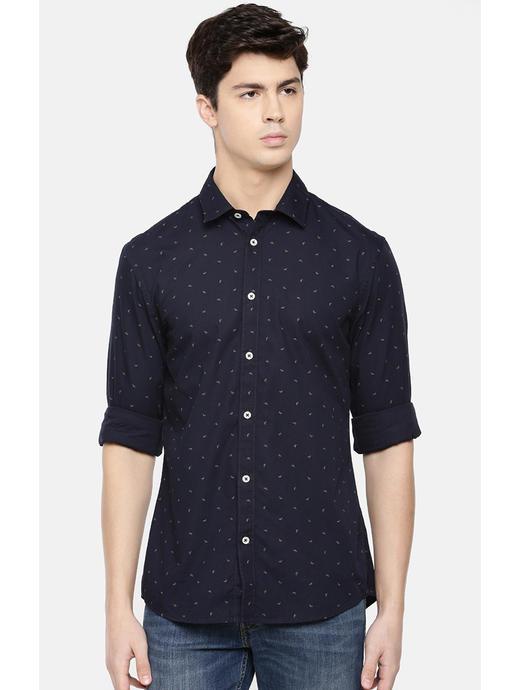 Navy Printed Slim Fit Casual Shirt