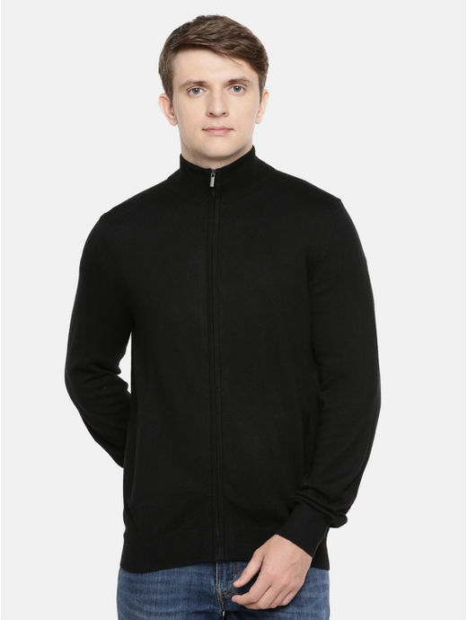 Black Solid Straight Fit Sweater