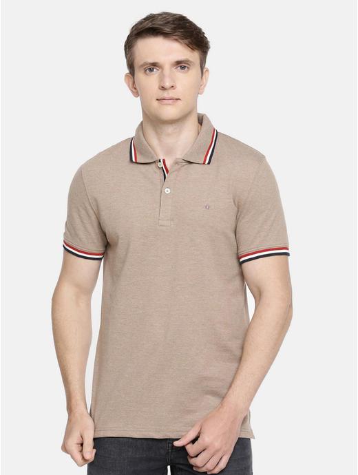 100% Cotton Beige Polo T-Shirt