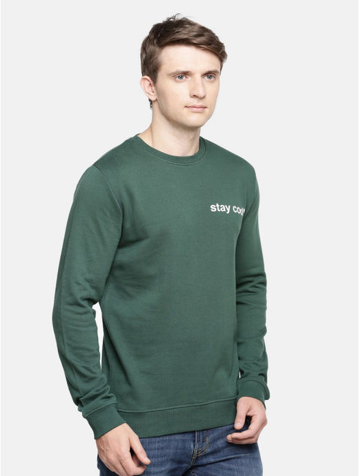 Green Solid Straight Fit Sweatshirt