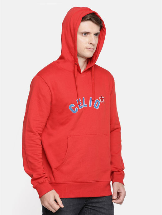 Red Solid Straight Fit Sweatshirt