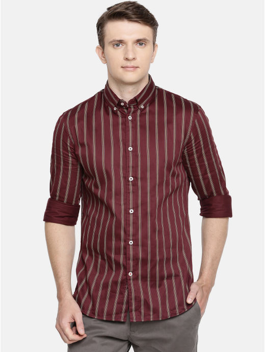 Maroon Striped Casual Shirt