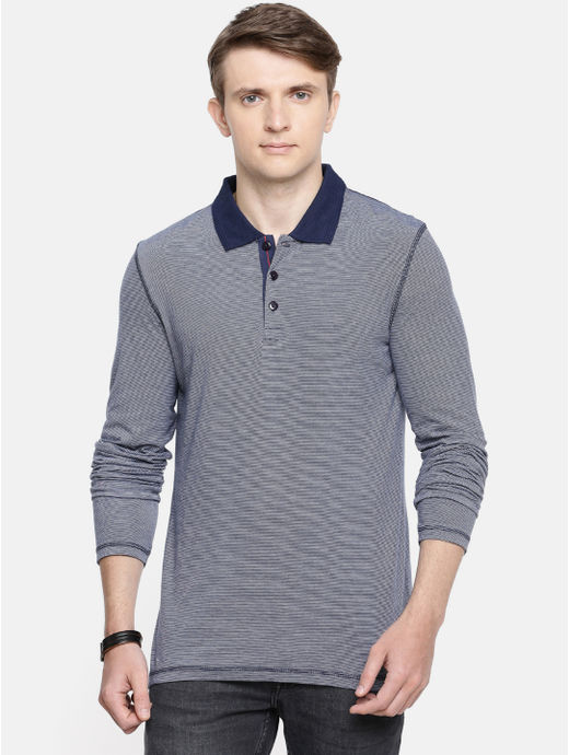 Blue Striped Polo T-Shirt