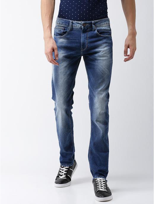 Cotton Blend Straight Fit Mid Blue Jeans