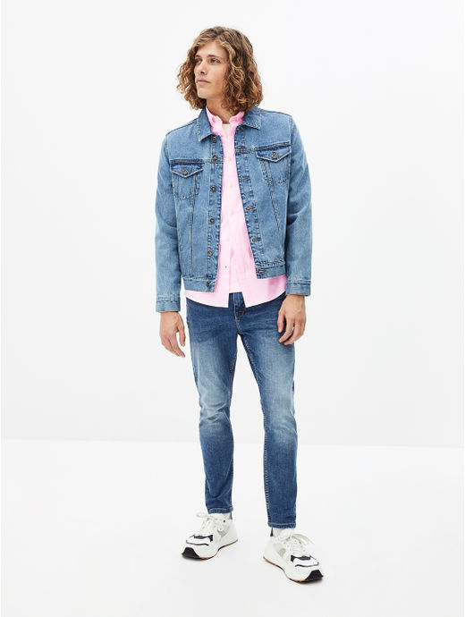 Blue Solid Carrot Fit Jeans