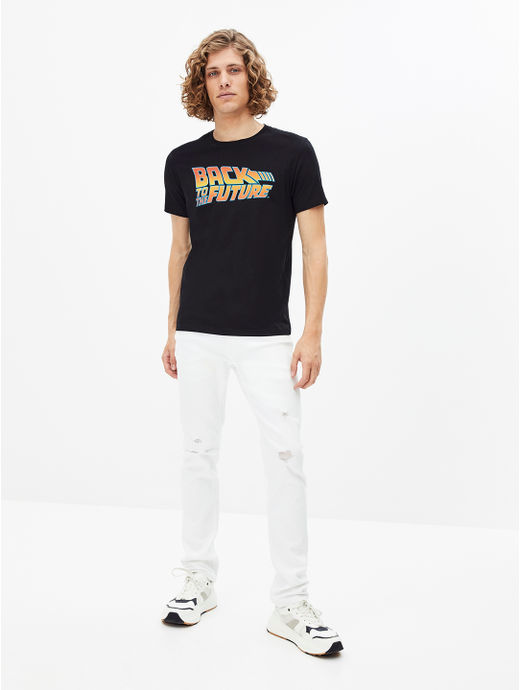 BACK TO FUTURE-Black Solid T-Shirt
