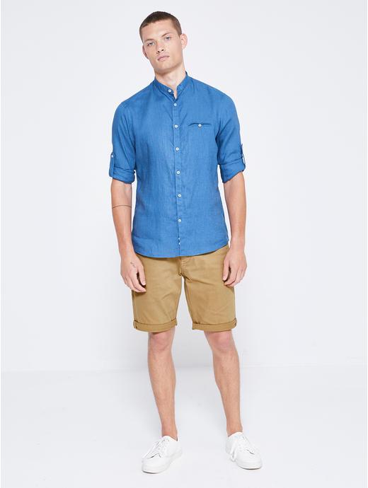 Tan Solid Shorts