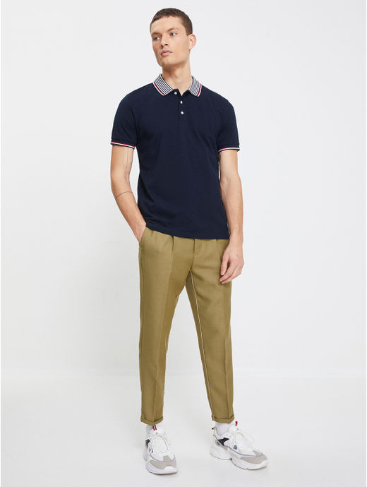 Navy Solid Polo Slim Fit T-Shirt