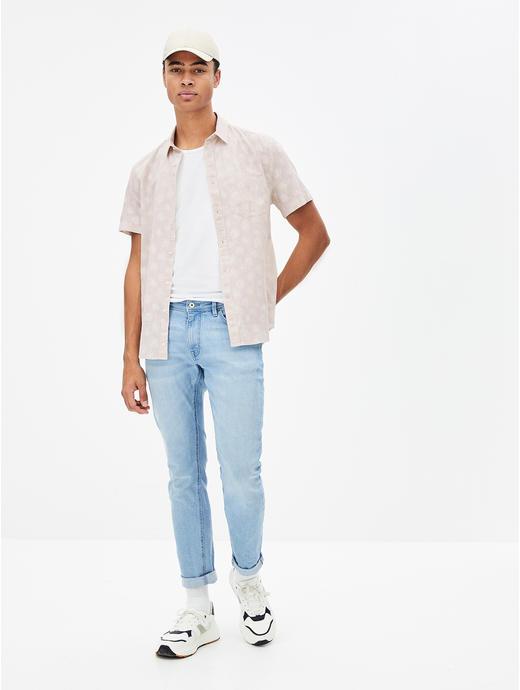 White Floral Linen Regular Fit Casual Shirt